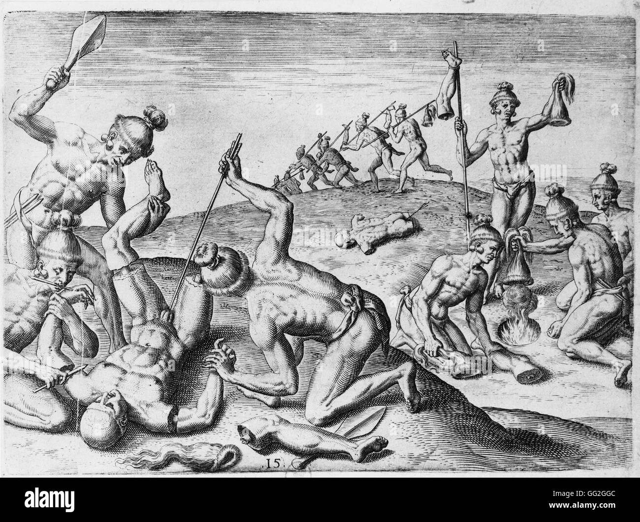 Théodore de Bry, engraver. After the drawings by Jacques Le Moyne de Morgues Scalping and mutilation of the - Stock Image