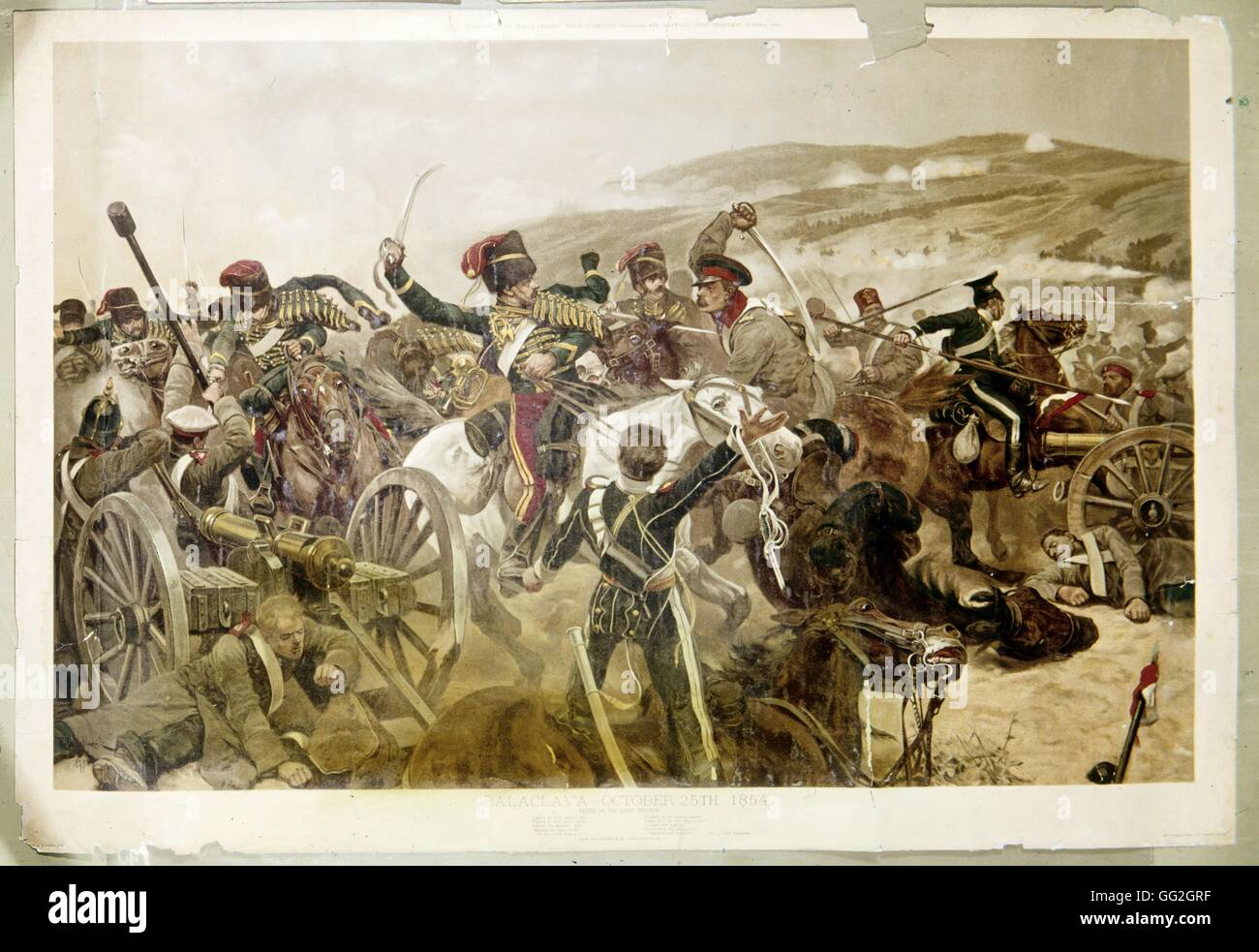 Battle of Balaklava during the Crimean War. 25 October 1854. Private collection - Stock Image