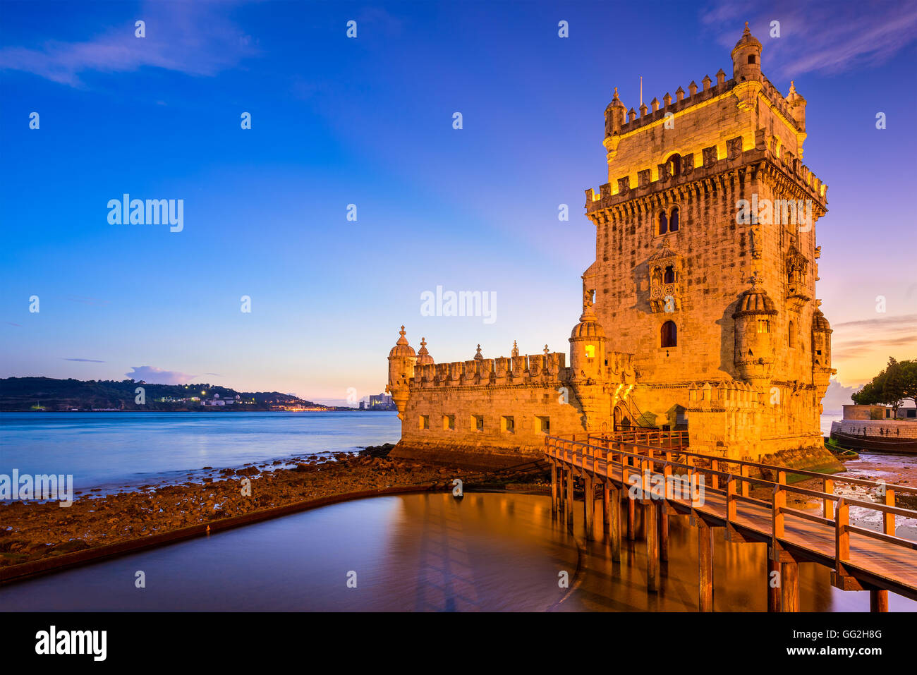 Belem Tower on the Tagus River in Lisbon, Portugal. - Stock Image