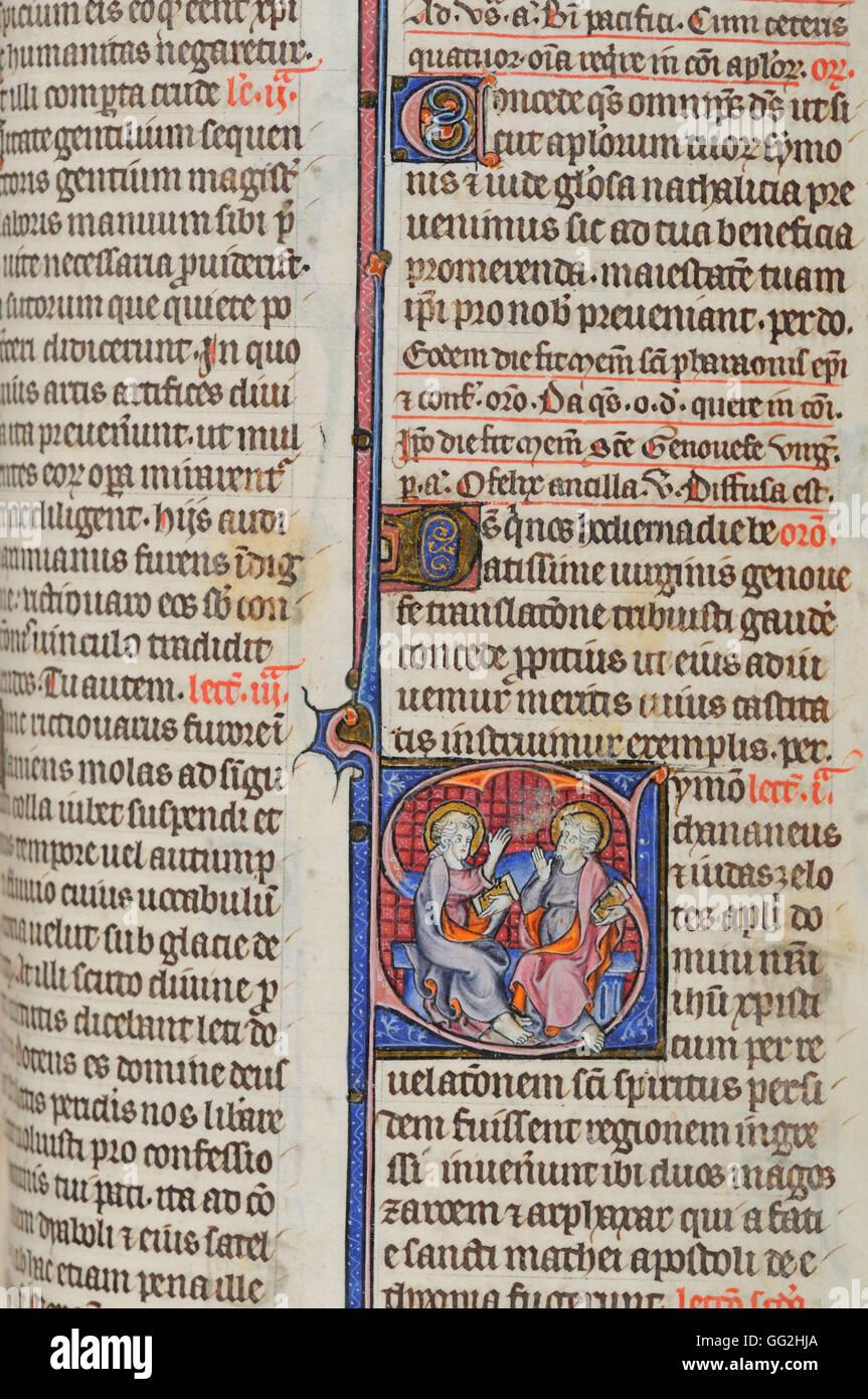 Saint Simon Breviary for Paris, folio 421 Early 14th century manuscript Parchment - Stock Image