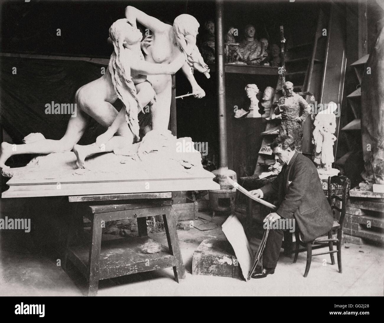 French painter and sculptor Alexandre Falguière in his Paris studio in 1886, in front of his plaster sculpture 'The Stock Photo