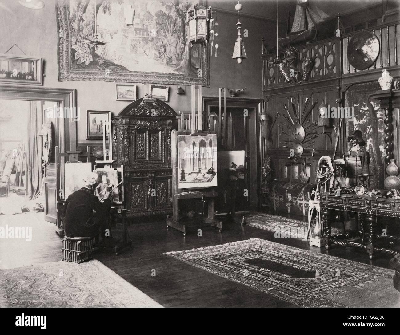 French painter and sculptor Jean-Léon Gérôme in his Paris studio located 6 rue de Bruxelles in the - Stock Image