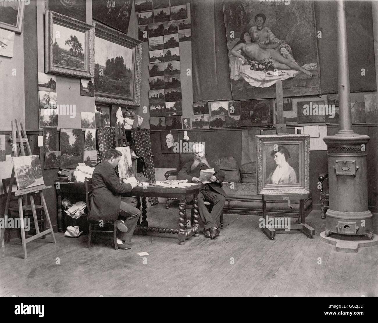 French painter Hector Hanoteau in his Paris studio. Photograph by Edmond Bénard c.1885. Albumen print. Stock Photo