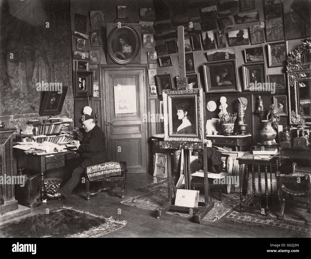 French painter Jean-Jacques Henner in his studio located 11 rue Pigalle in the 9th arrondissement in Paris. c.1886 - Stock Image