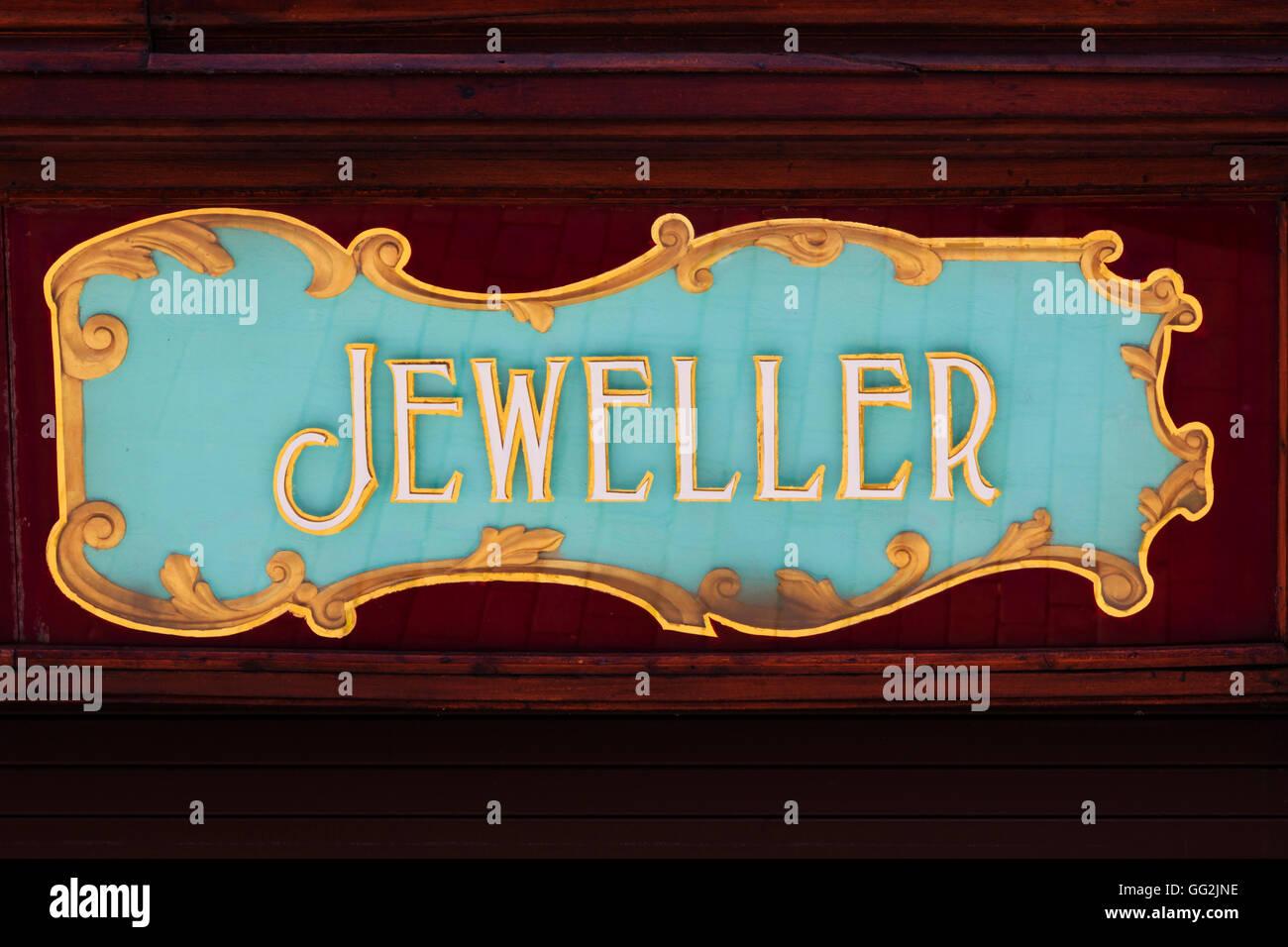 Hand painted 'Jeweller' , shop sign, Newark on Trent, Nottinghamshire, England. - Stock Image