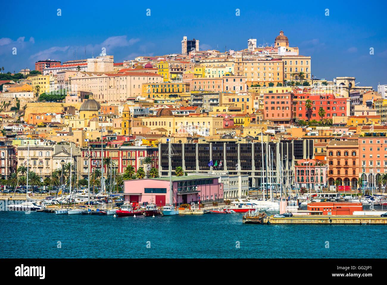 Cagliari, Sardinia, Italy coastal skyline on the Mediterranean Sea. - Stock Image