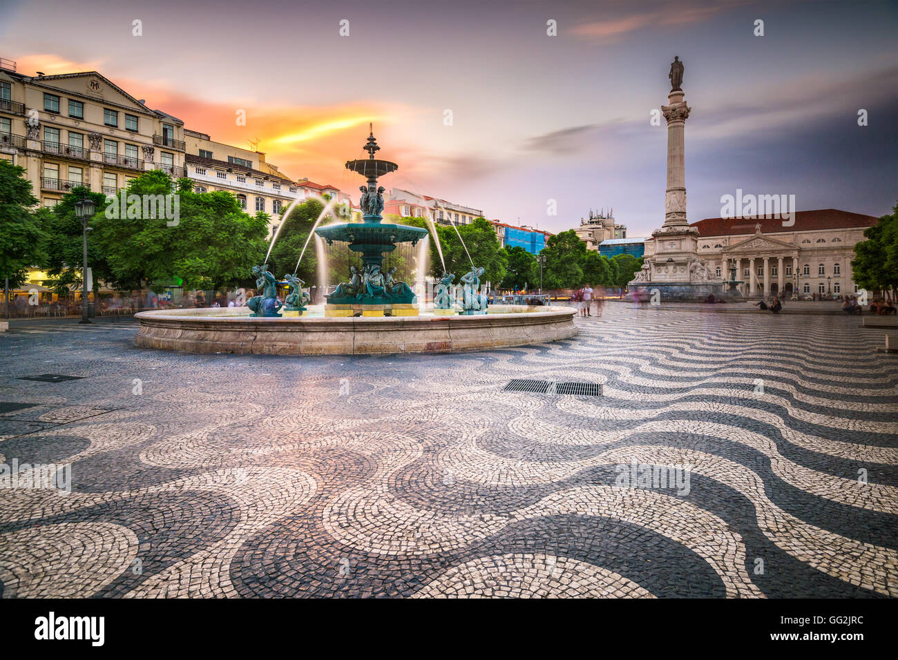 Lisbon, Portugal cityscape at Rossio Square. Stock Photo