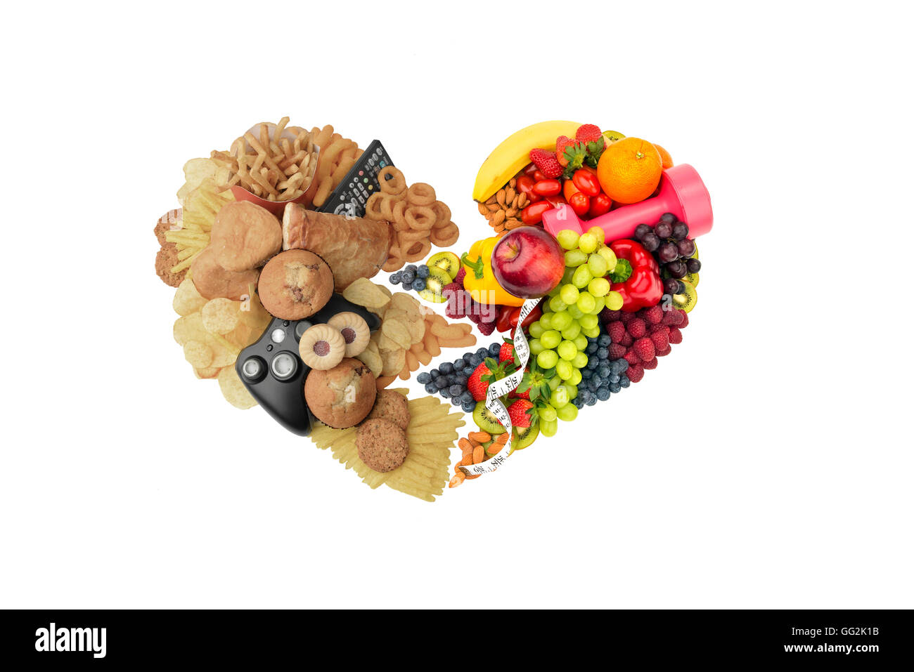 Healthy lifestyle  & food diet  and Unhealthy  lifestyle & food diet  two half of heart concept - Stock Image