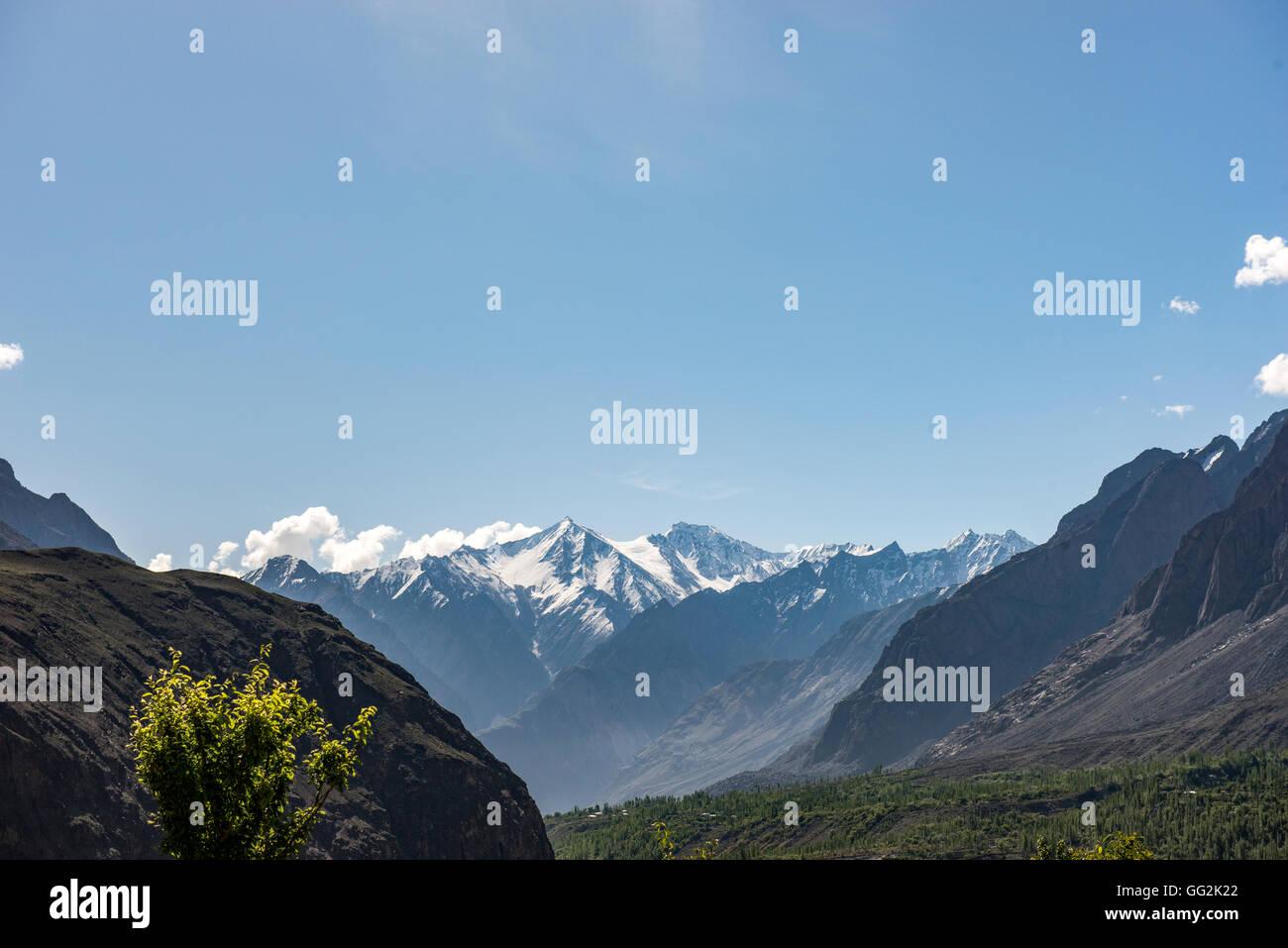 View of Hindu Kush mountains from Mastuj - Stock Image