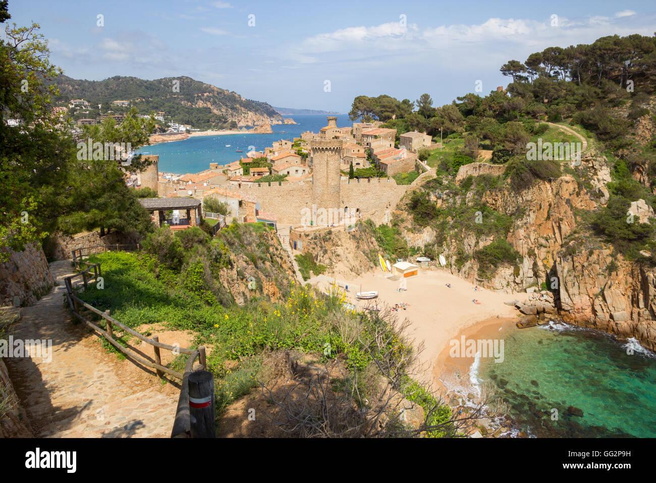View on the historic part of Tossa de Mar. Costa Brava, Spain - Stock Image