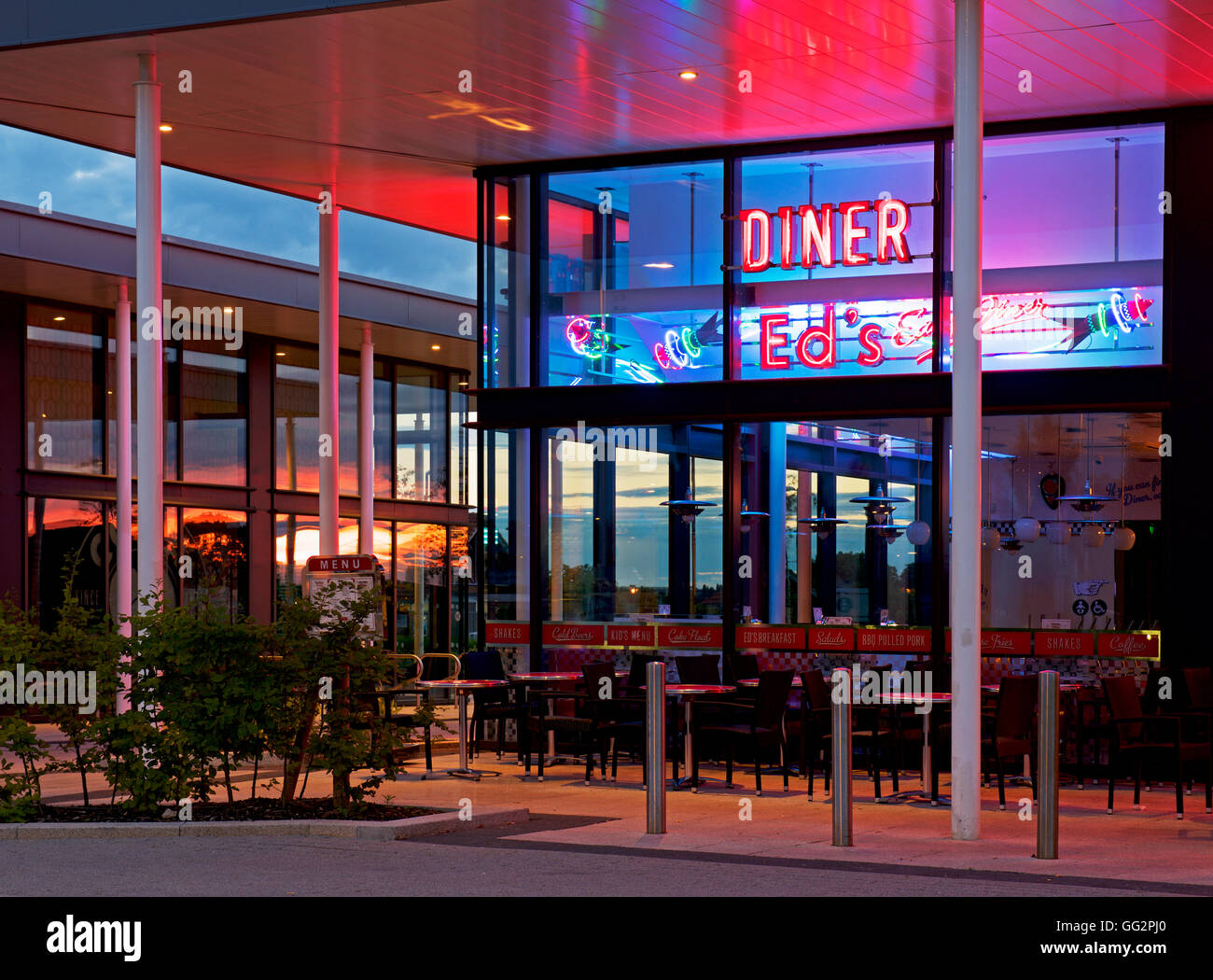 Ed's Diner at sunset, Monks Cross, York, North Yorkshire, England UK - Stock Image