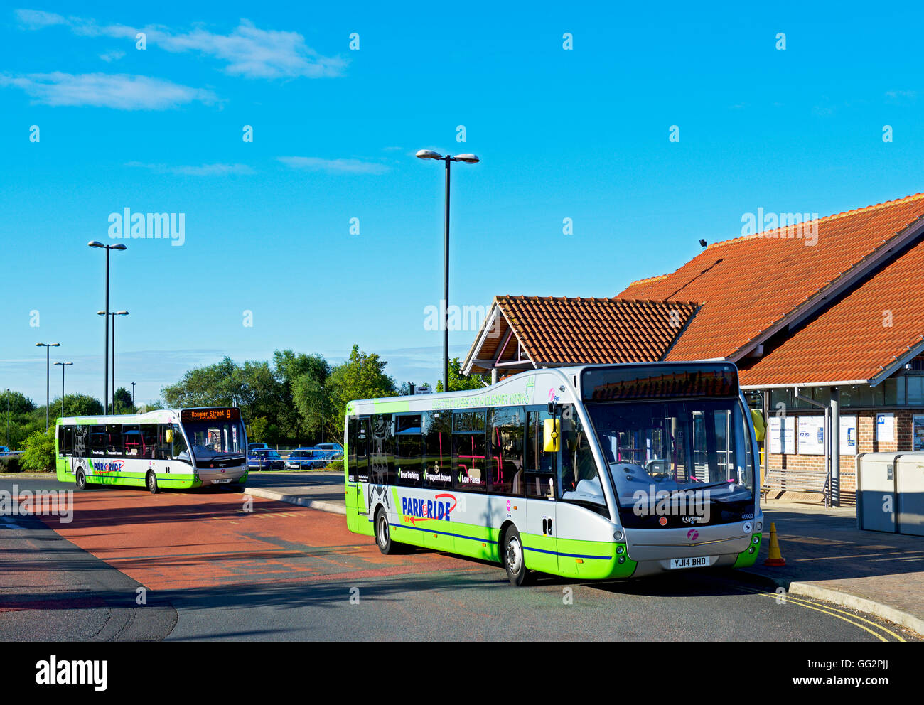 Buses parked at Monks Cross Park & Ride facility, near York, North Yorkshire, England UK - Stock Image