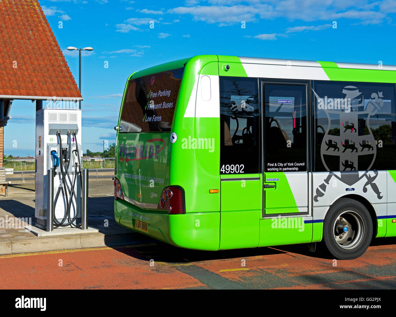 Bus parked at Monks Cross Park & Ride facility, near York, North Yorkshire, England UK - Stock Image