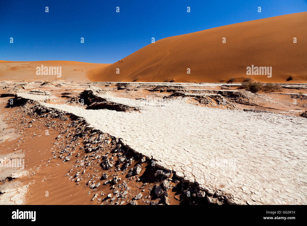 Sossusvlei Namibia Dried up river bed. - Stock Image