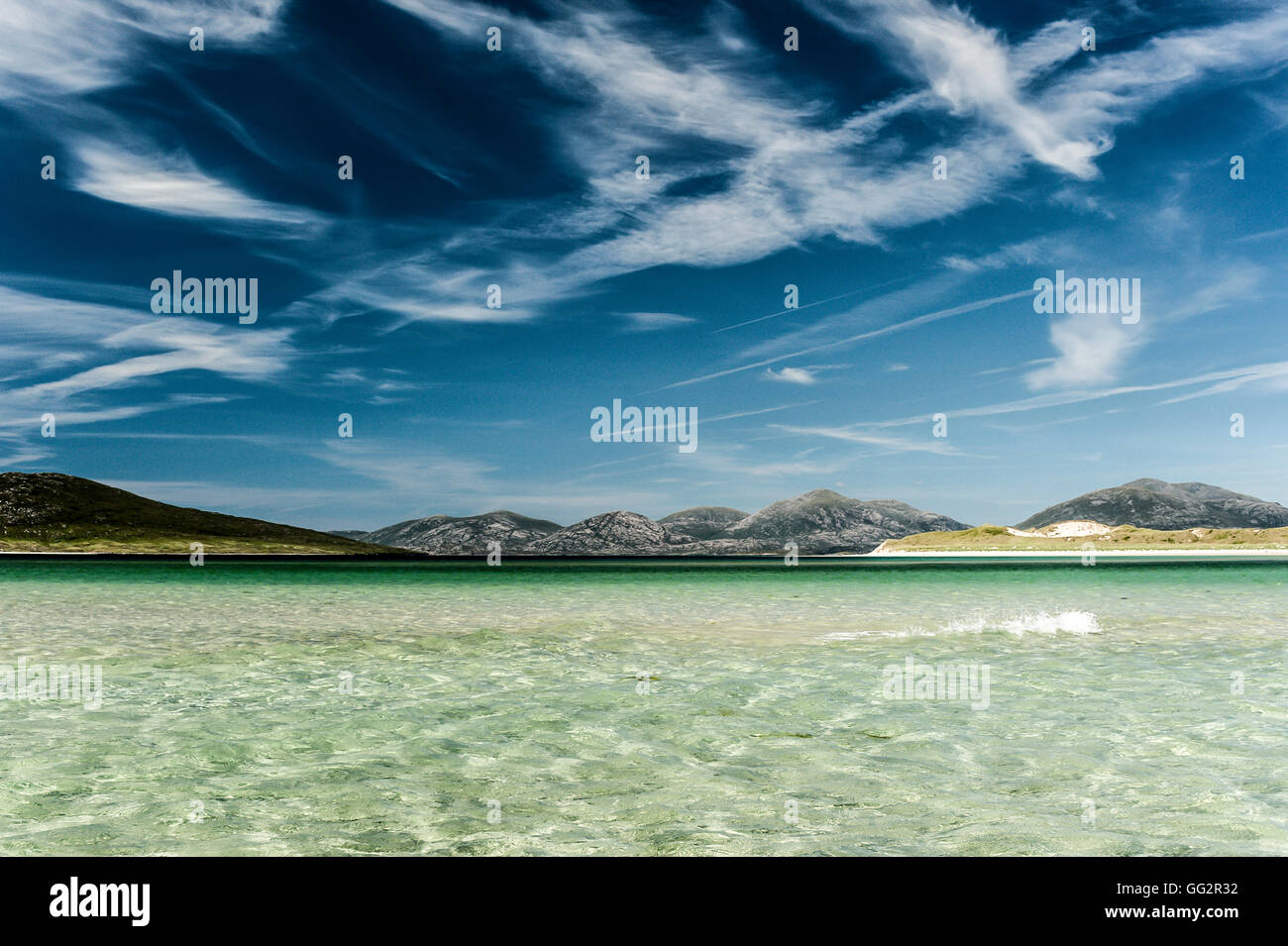 Luskentyre beach, Harris, Outer Hebrides. Scotland, island, beach, sky - Stock Image