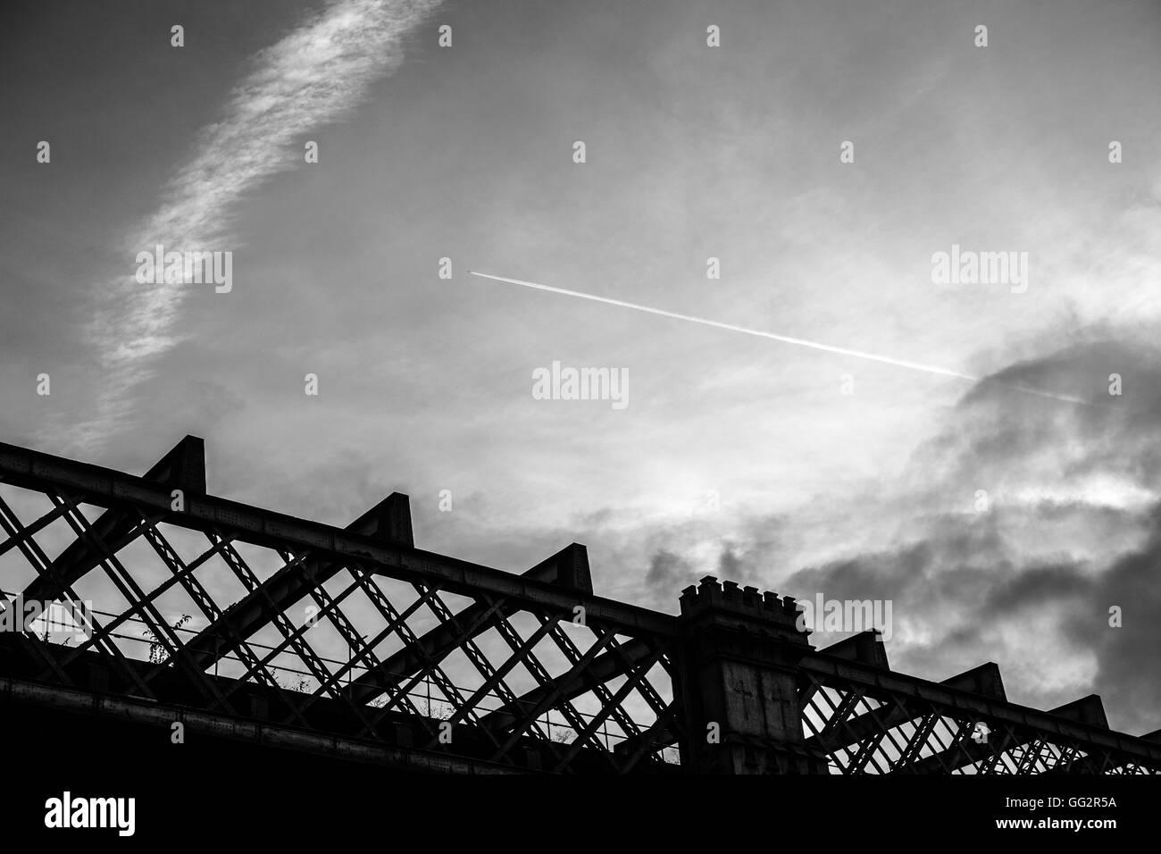 Railway bridge in castlefield, Manchester, UK - Stock Image