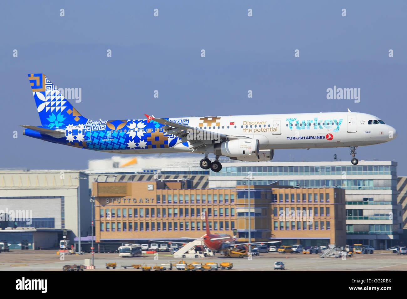 Stuttgart/Germany March 20, 2016: Turkish A321 with 'Discover the potential Turkey' at Stuttgart Airport. - Stock Image