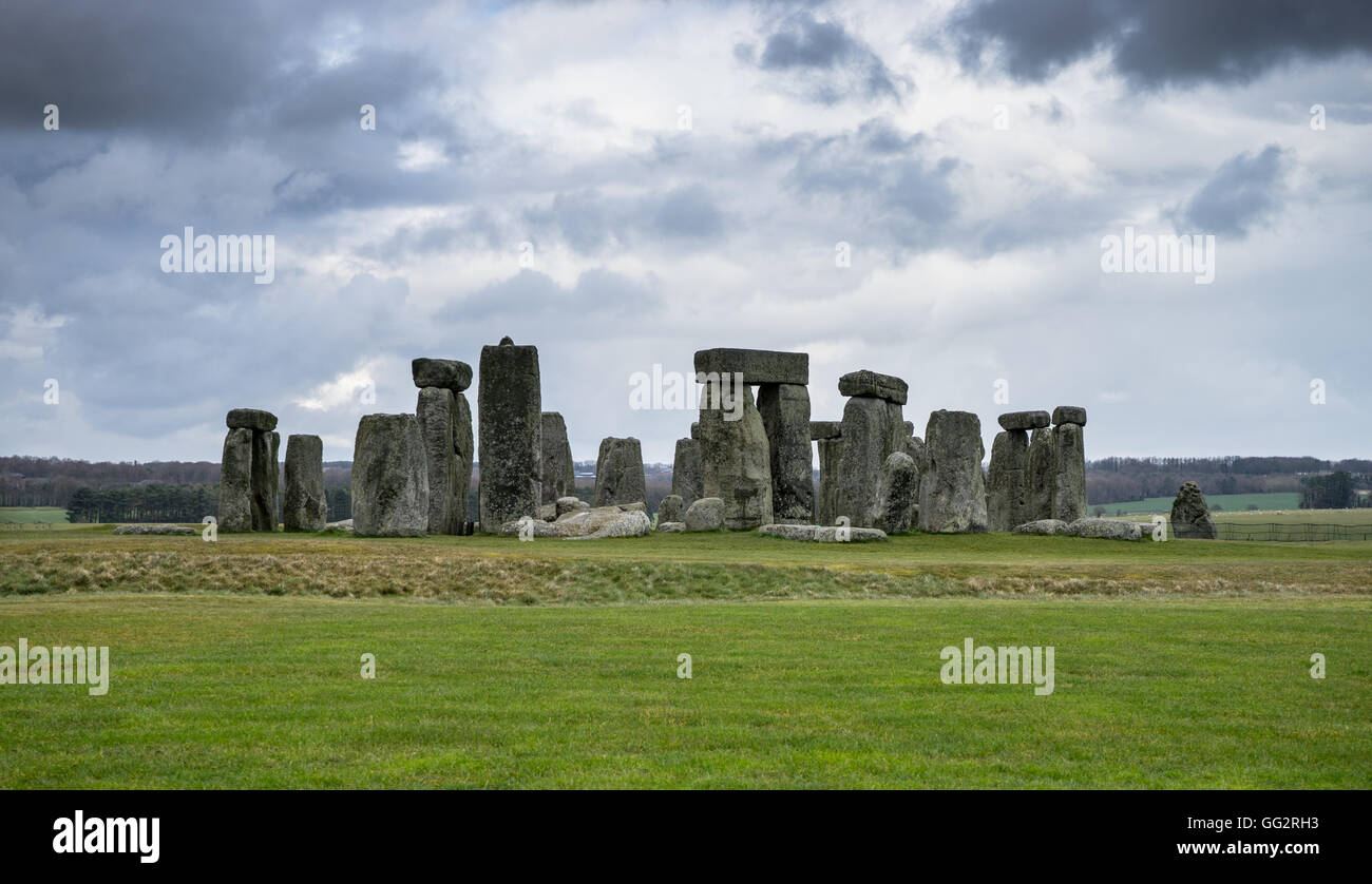 Stonehenge on a stormy day - Stock Image