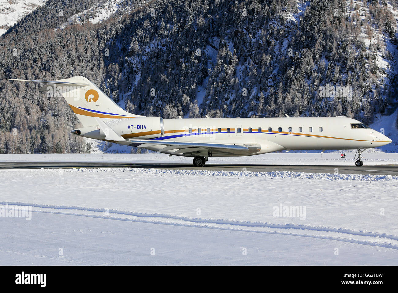 Businessjet far away from his homebase at Engadin Airport in Samedan/Switzerland 03.01.2016 - Stock Image