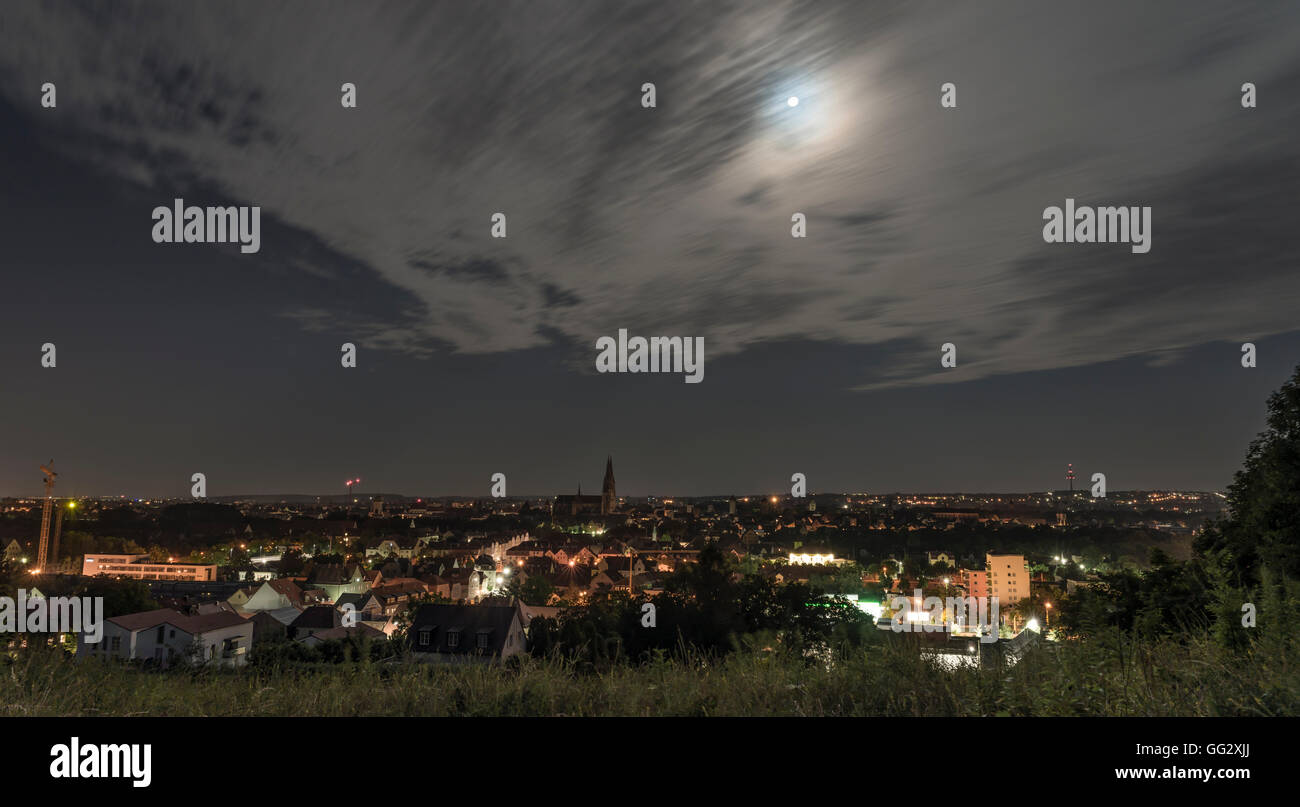 Panorama view of Regensburg at a full moon night - Stock Image