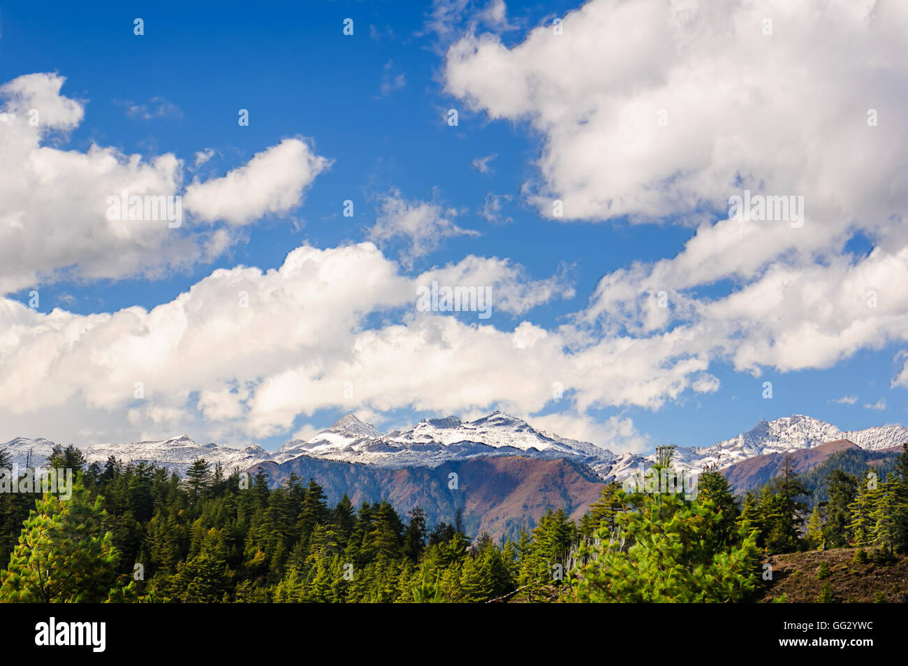 Landscape of Bhutan, Chele La Pass, snow capped Mountains and sky, copy space - Stock Image