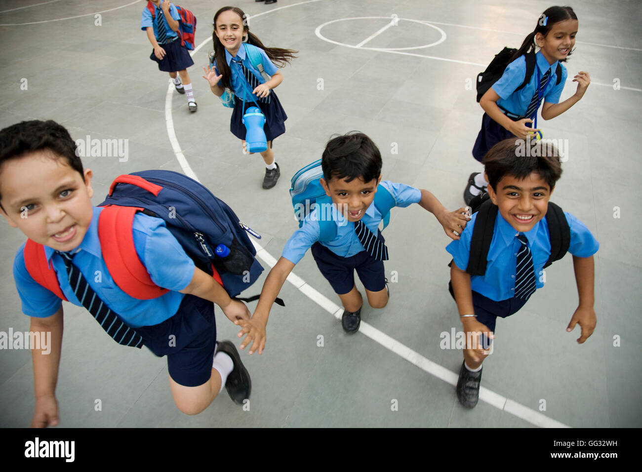 School children running - Stock Image