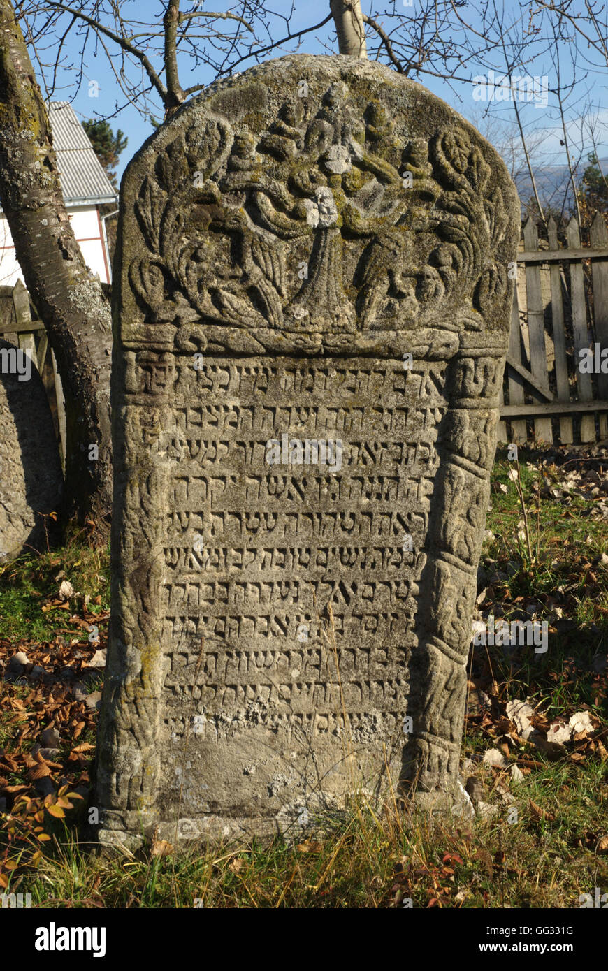 5512---Vatra Dornei, Romania. Tombstone from the ancient graveyard, dating 18-19th C. - Stock Image