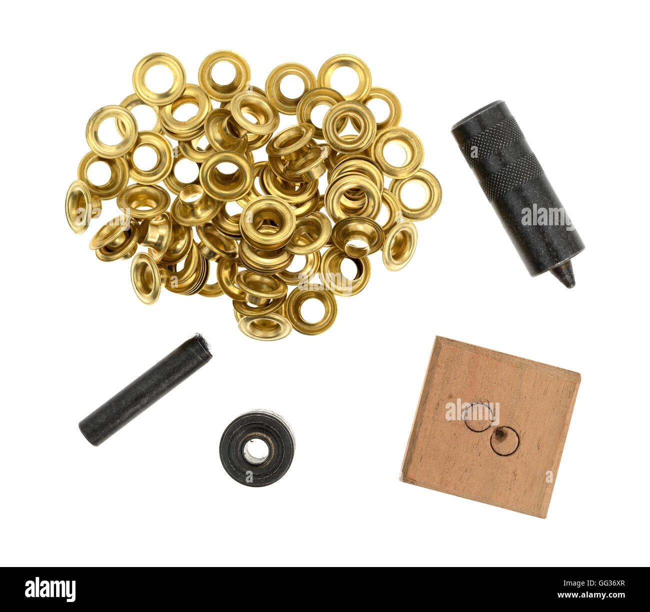Used grommet kit isolated on a white background. - Stock Image