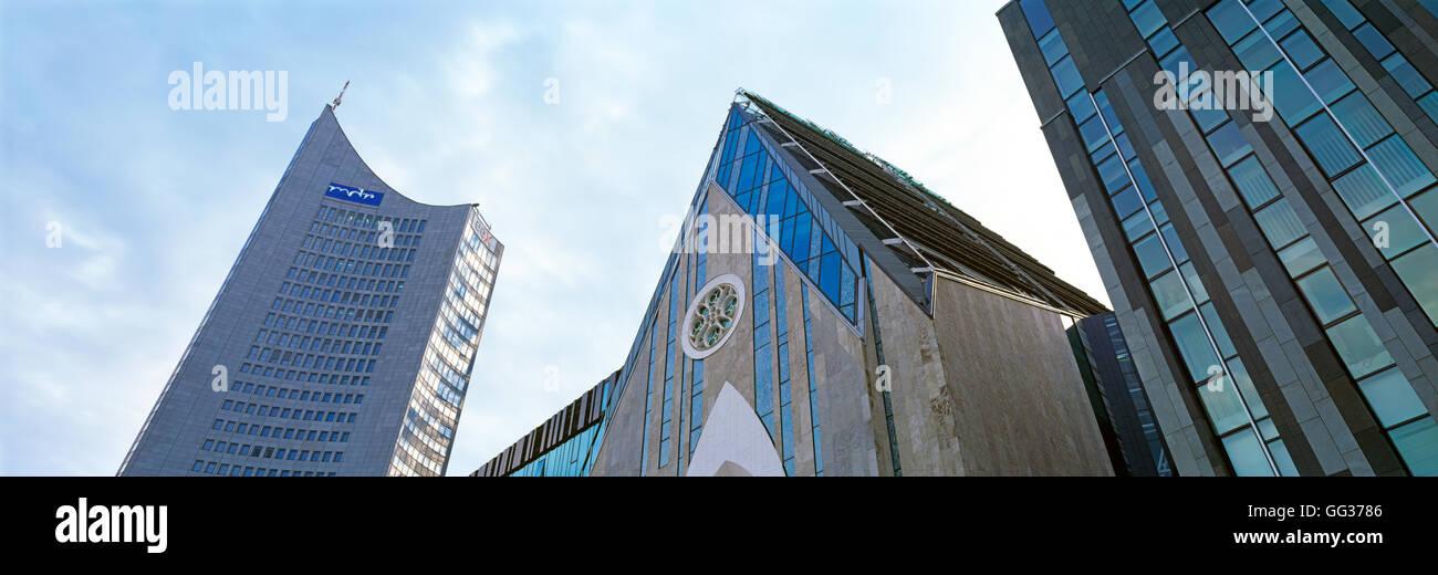 Paulinum and City Hochhaus, Leipzig, Germany - Stock Image
