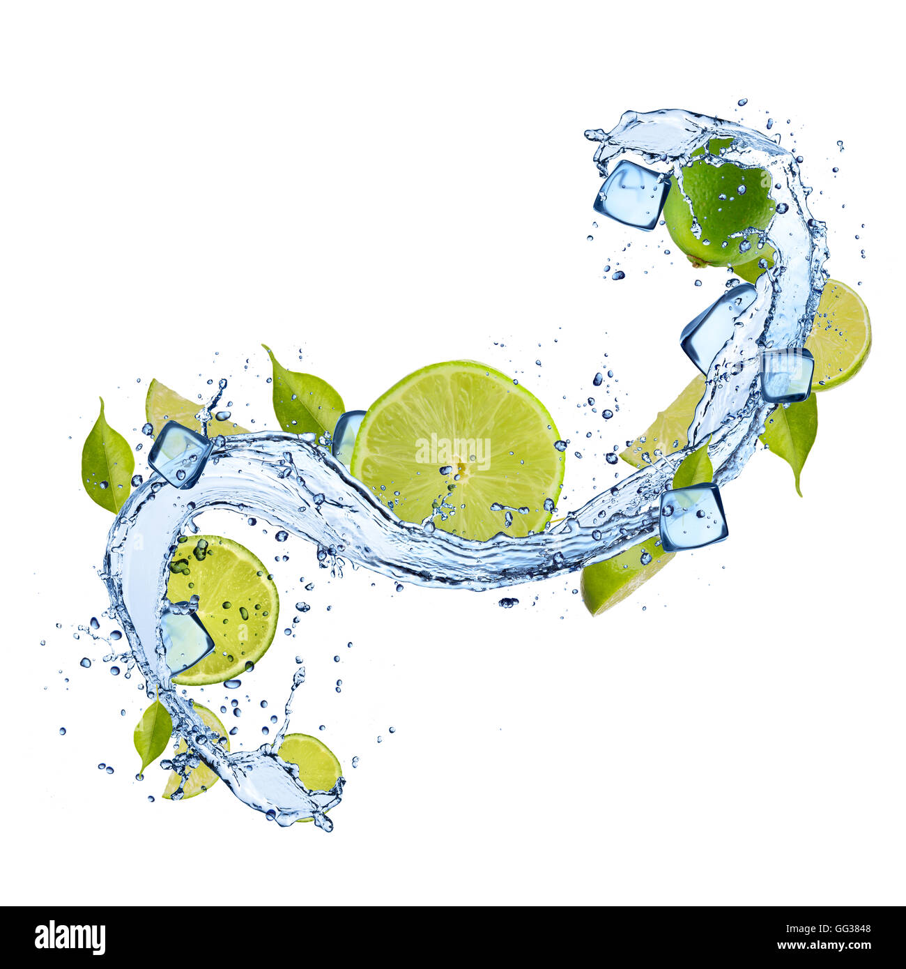Pieces of limes in water splash and ice cubes, isolated on white background Stock Photo