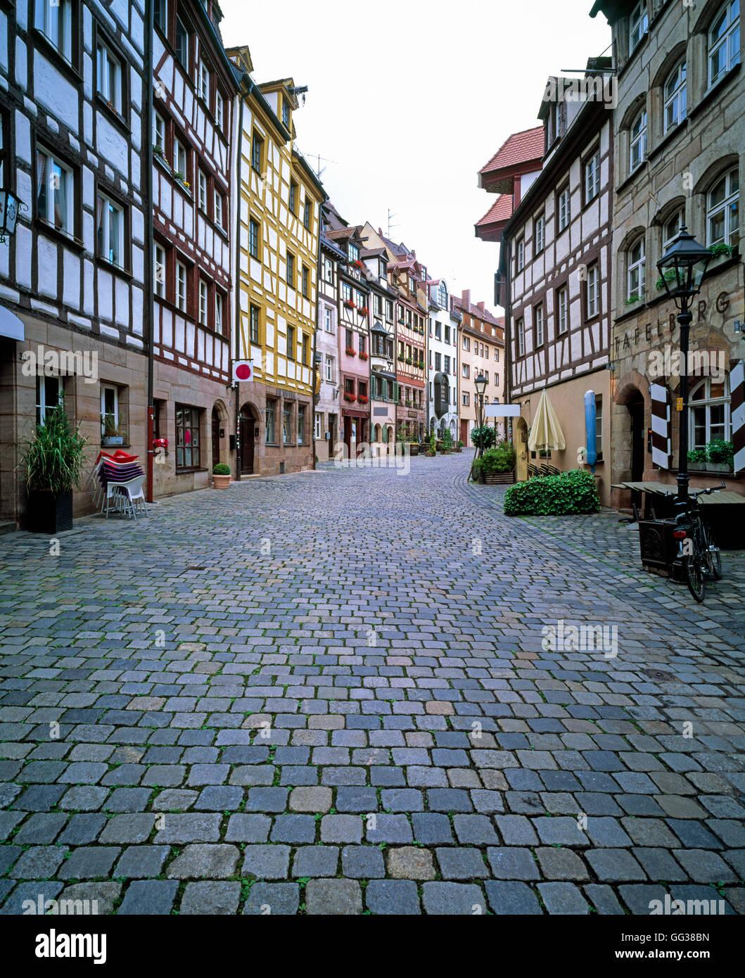 Half timbered architectur, Nuremberg, Germany - Stock Image