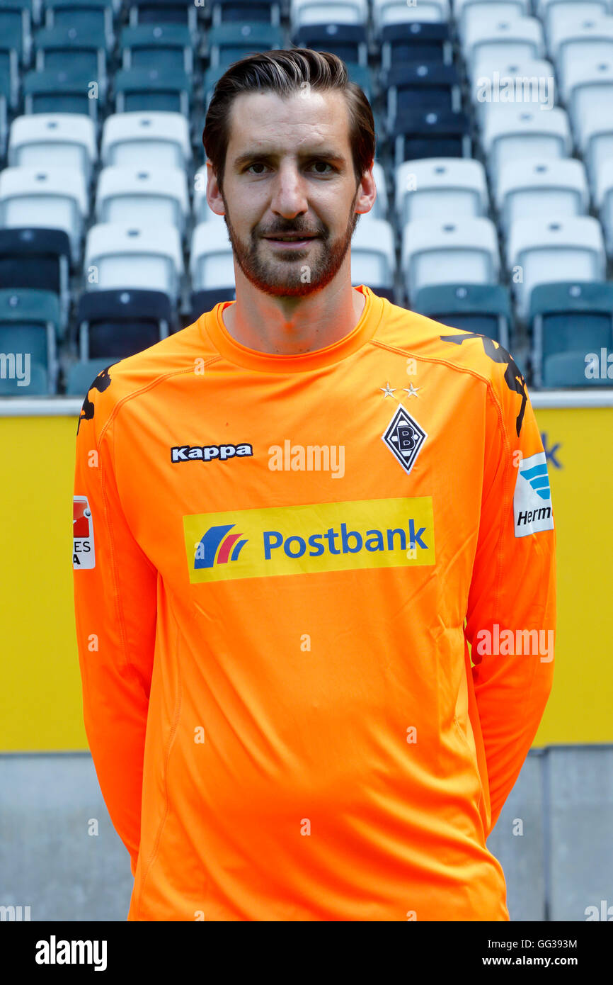 football, Bundesliga, 2016/2017, Borussia Moenchengladbach, press photo shooting, portrait, keeper Christofer Heimeroth - Stock Image