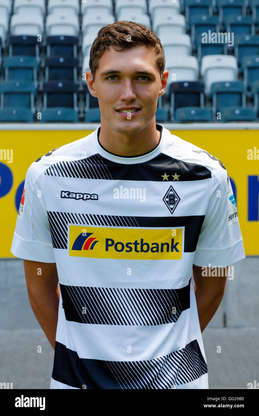 football, Bundesliga, 2016/2017, Borussia Moenchengladbach, press photo shooting, portrait, Andreas Christensen - Stock Image