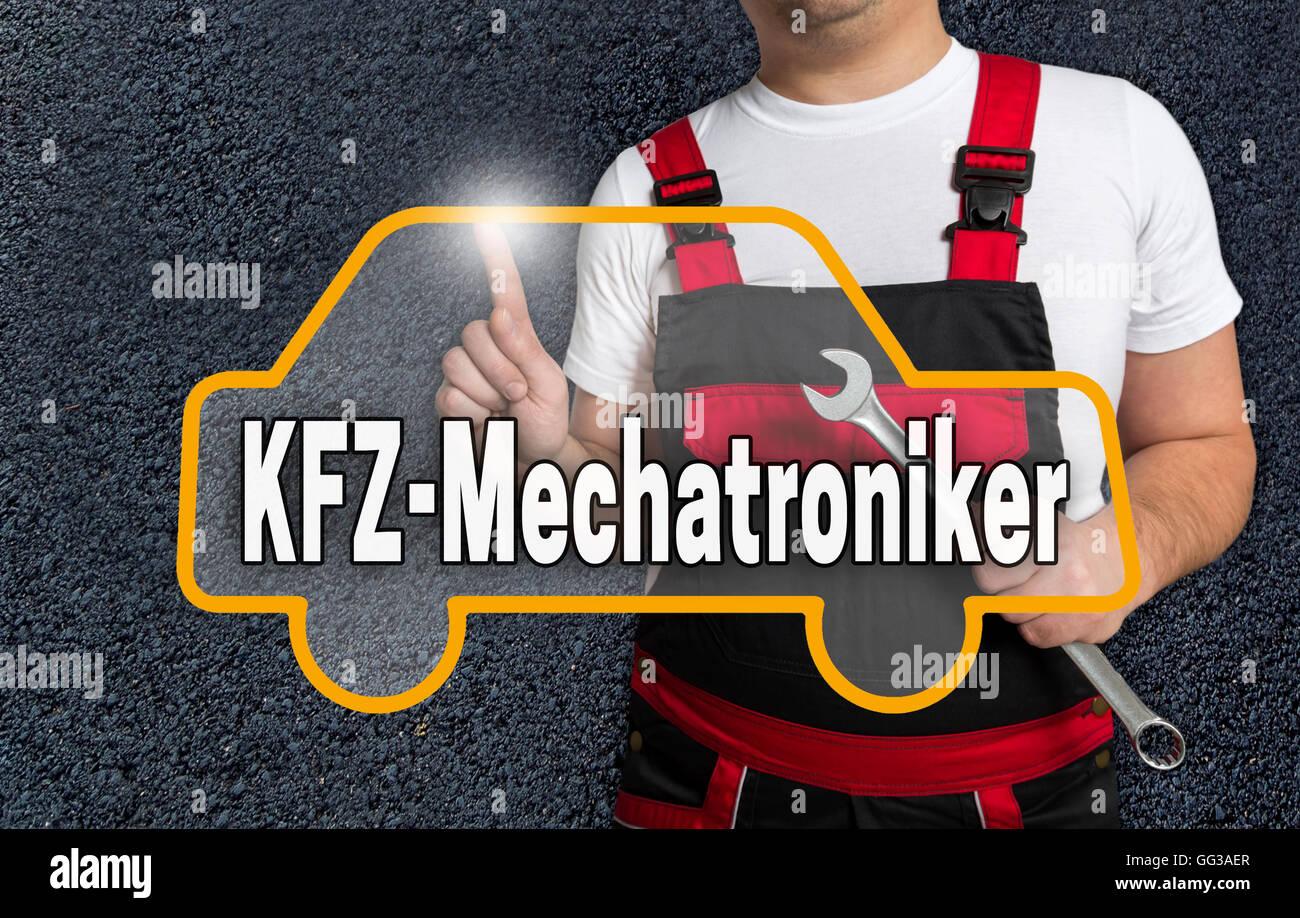 Kfz Mechatroniker (in german Auto mechanic) background touchscreen concept. - Stock Image