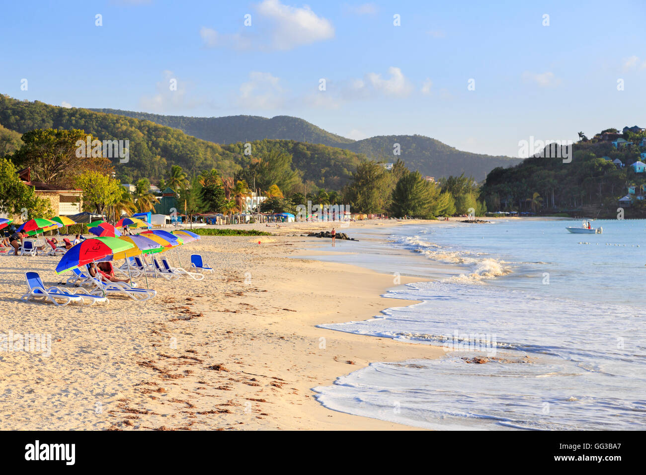 Golden sand, blue sky and colourful beach umbrellas at sunny Jolly Harbour, south-west Antigua - Stock Image