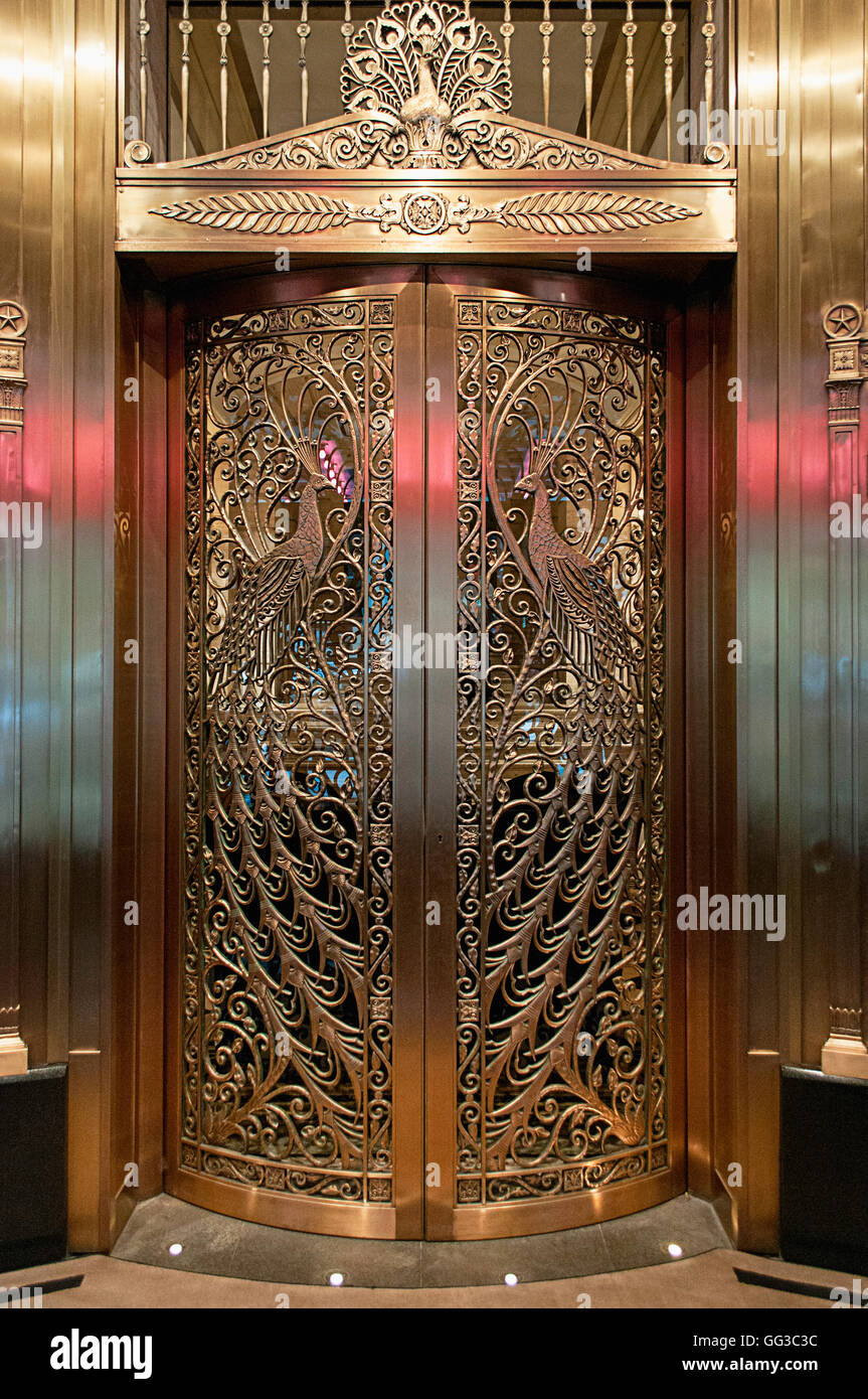 The peacock doors at the Palmer House in Chicago, designed by Louis C Tiffany on the Monroe street entrance. - Stock Image