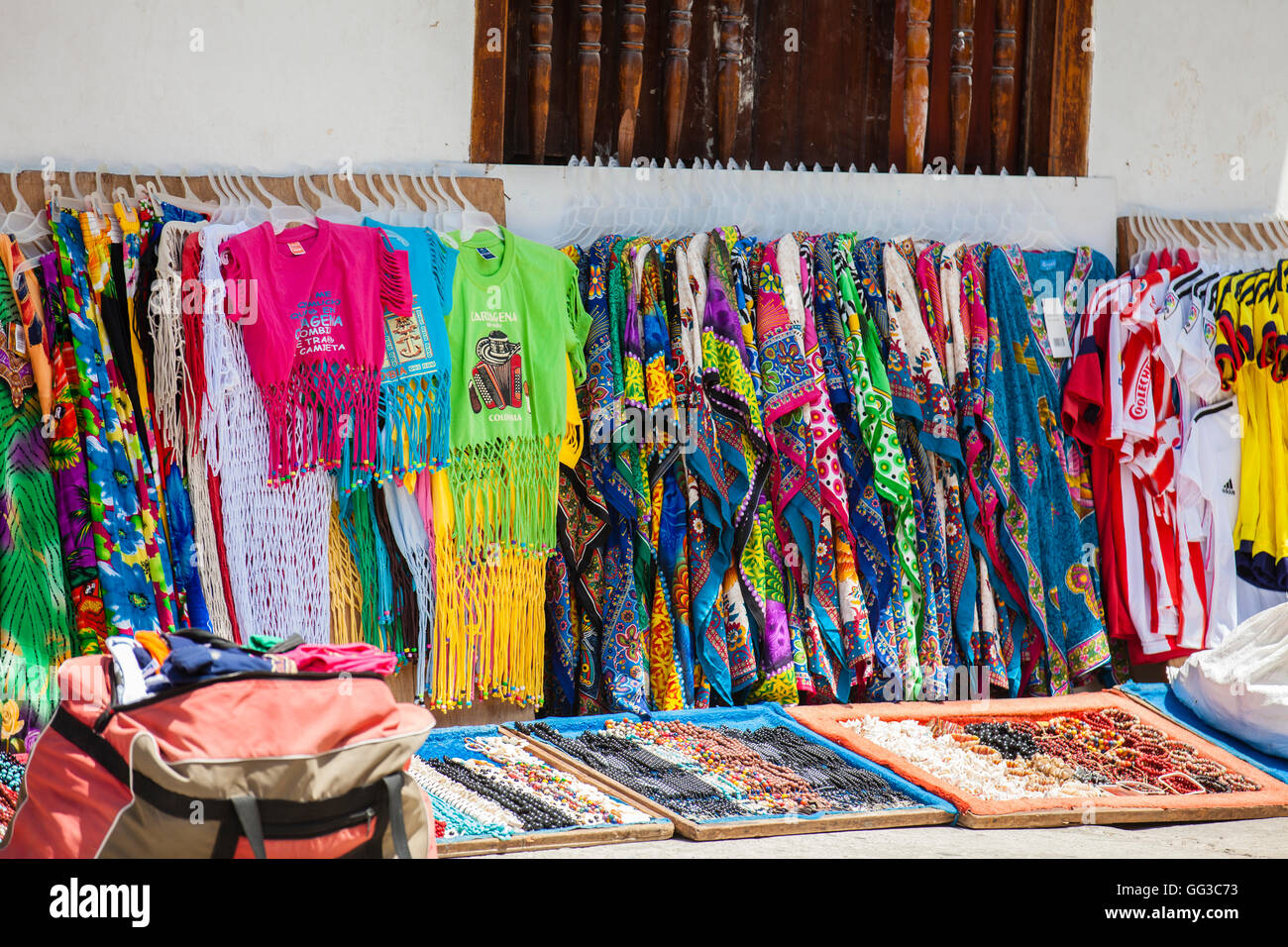 Clothes and accesories street selling in Cartagena de Indias - Stock Image