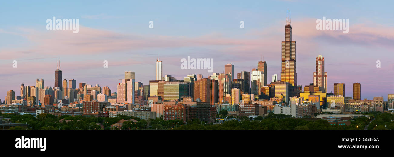 Chicago Skyline Panorama Panoramic High Resolution Image Of At Twilight Blue Hour
