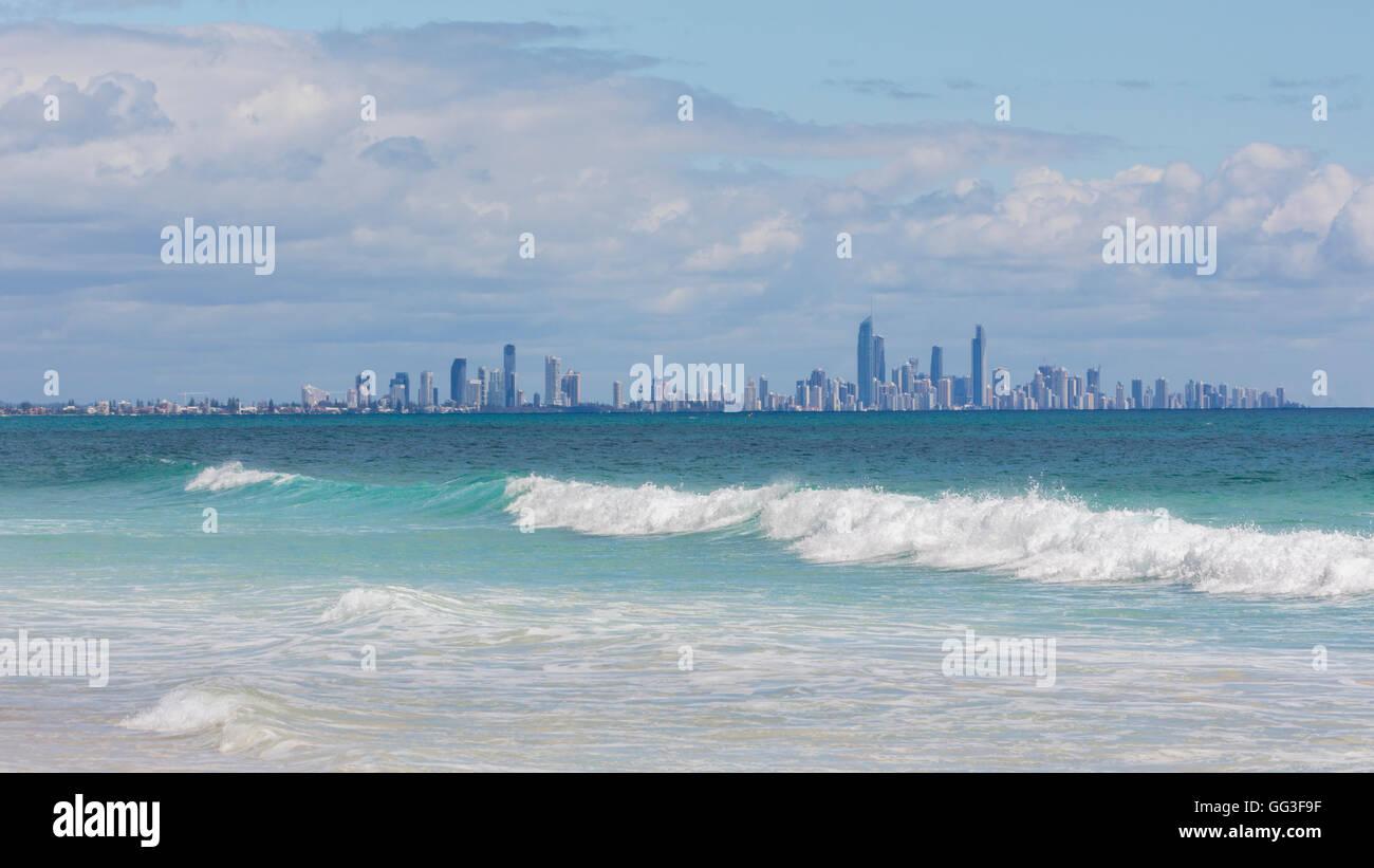 Surfers Paradise, Gold Coast, Queensland, Australia, seen from Bilinga beach. - Stock Image