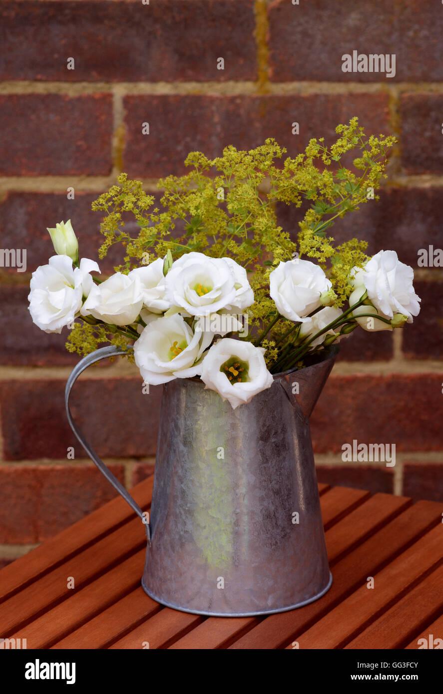 Floral arrangement of white prairie gentians and delicate alchemilla mollis in a vintage metal jug - Stock Image