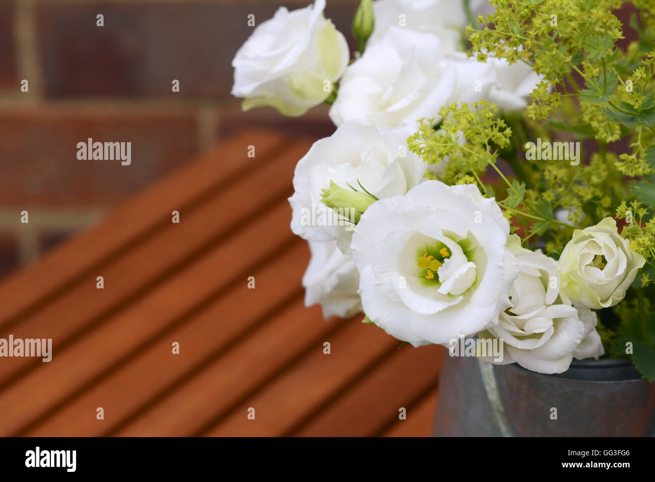 Close-up of white tulip gentian blooms with ladys mantle on a wooden slatted table - Stock Image