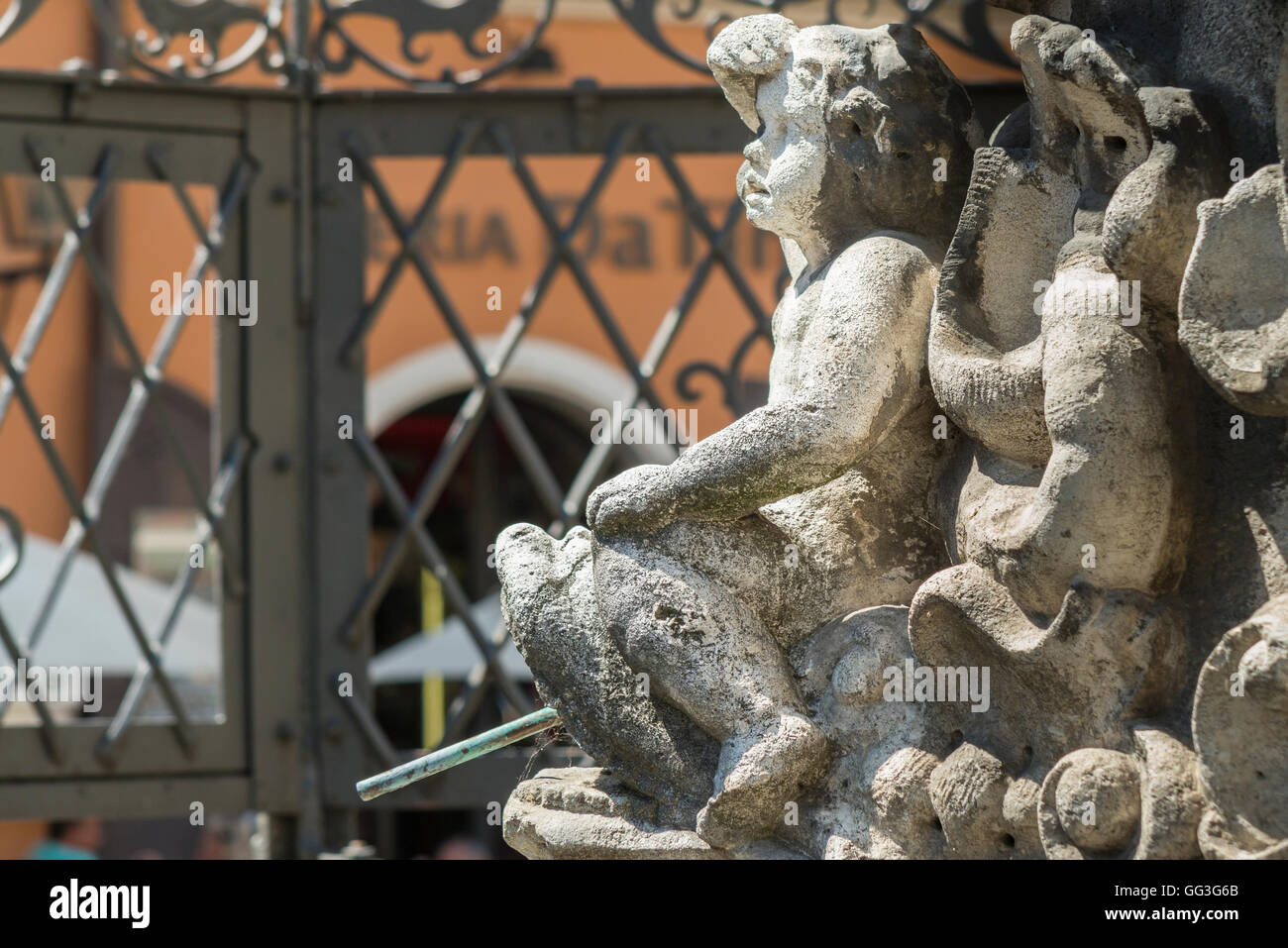 Figure at the Justitia well in Regensburg - Stock Image