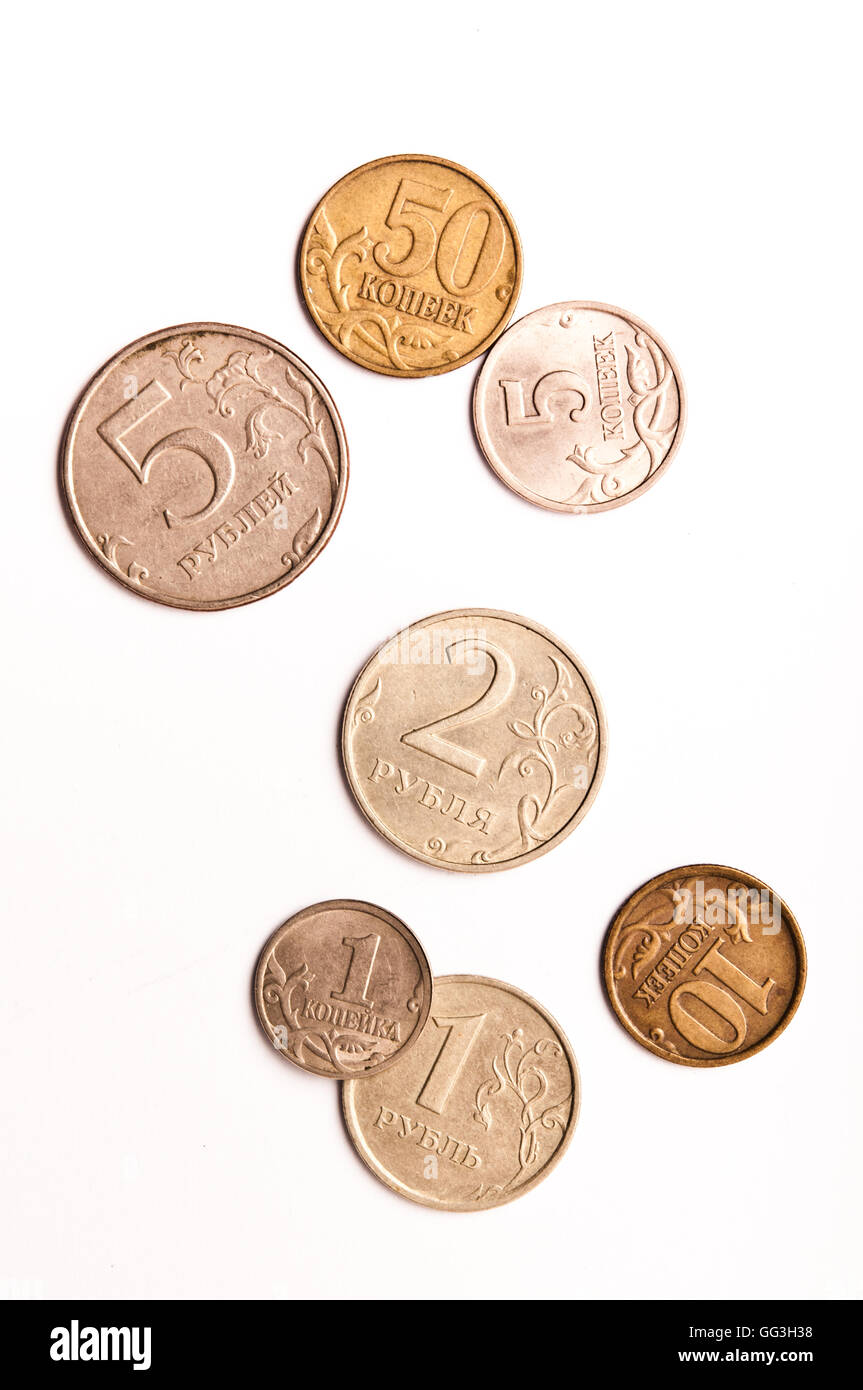 Russian coins Rubles and Kopeks Stock Photo