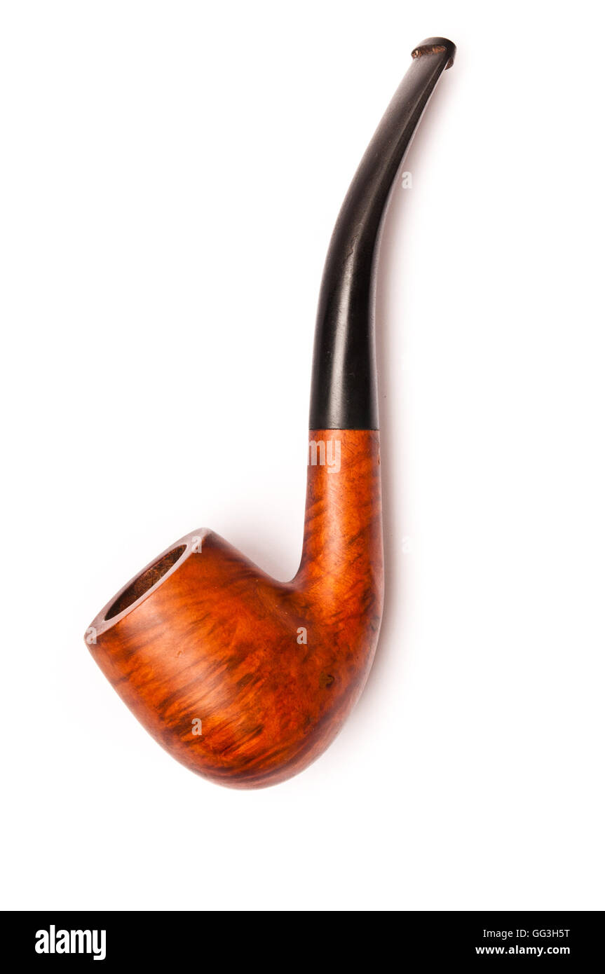 classical wooden pipe isolated - Stock Image