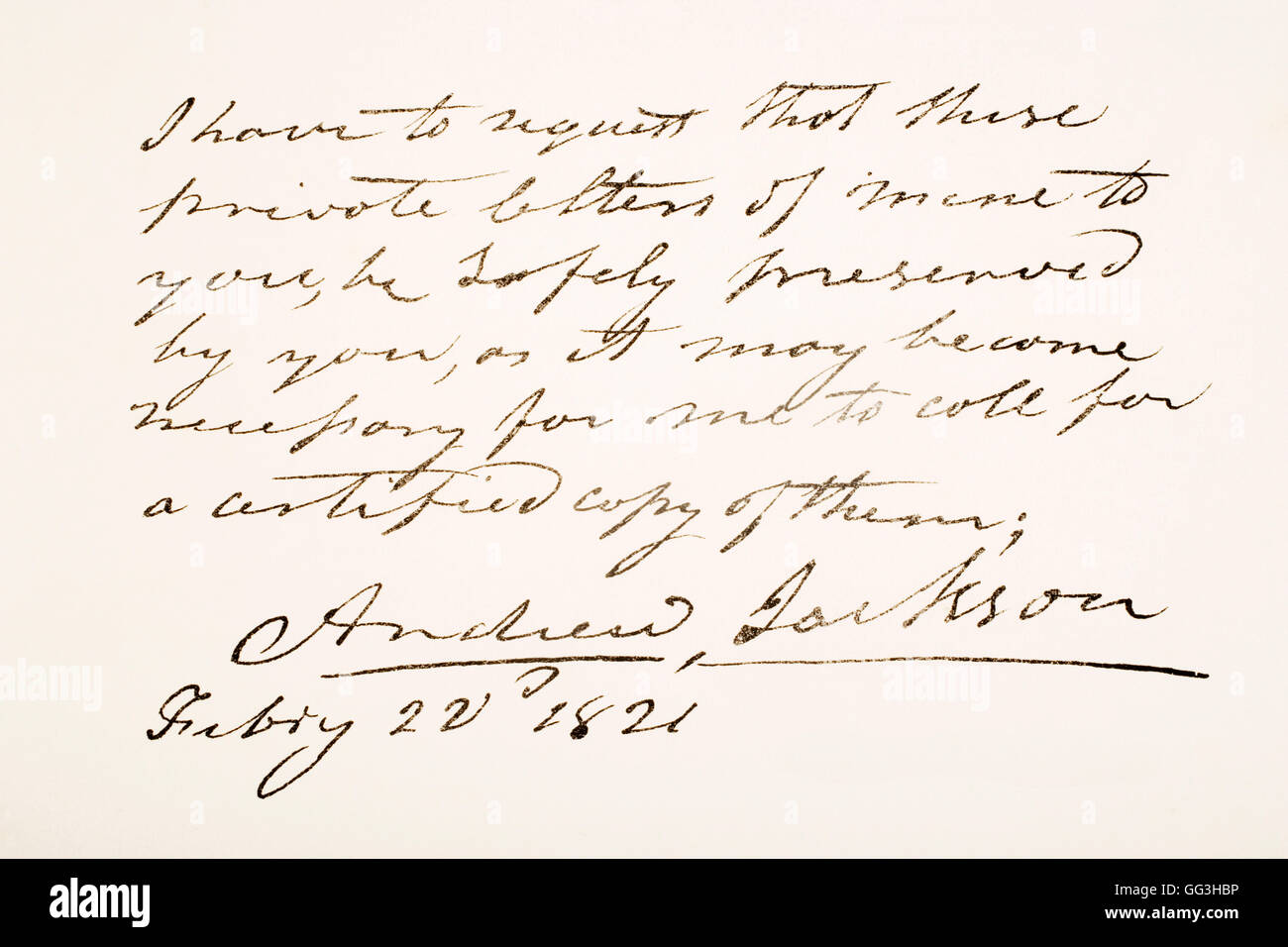 Andrew Jackson, 1767 - 1845. 7th President of the United States of America.  Hand writing sample. - Stock Image