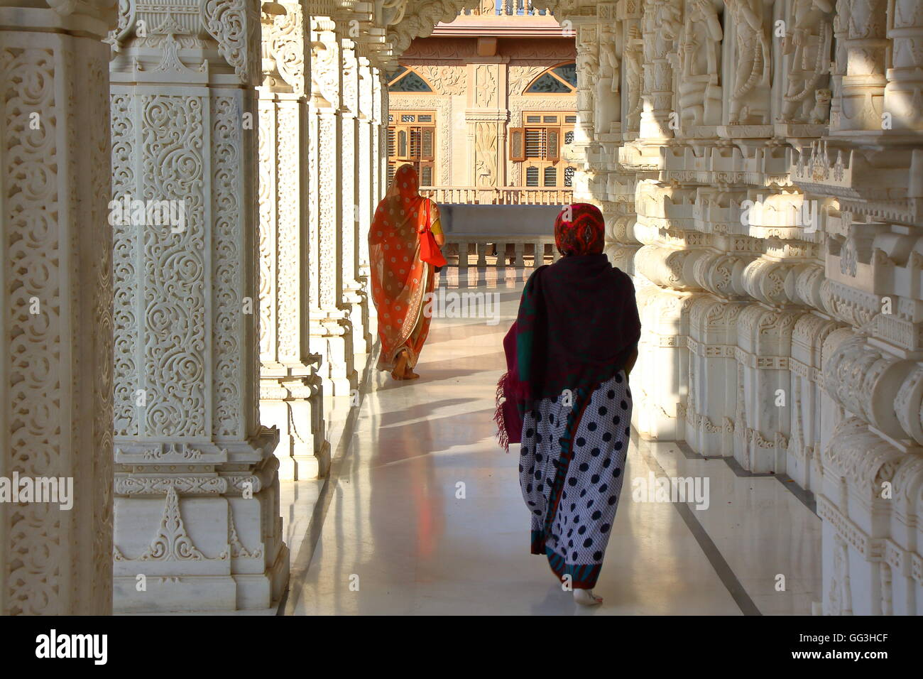 Inside a jain temple in Ahmedabad, Gujarat, India Stock Photo