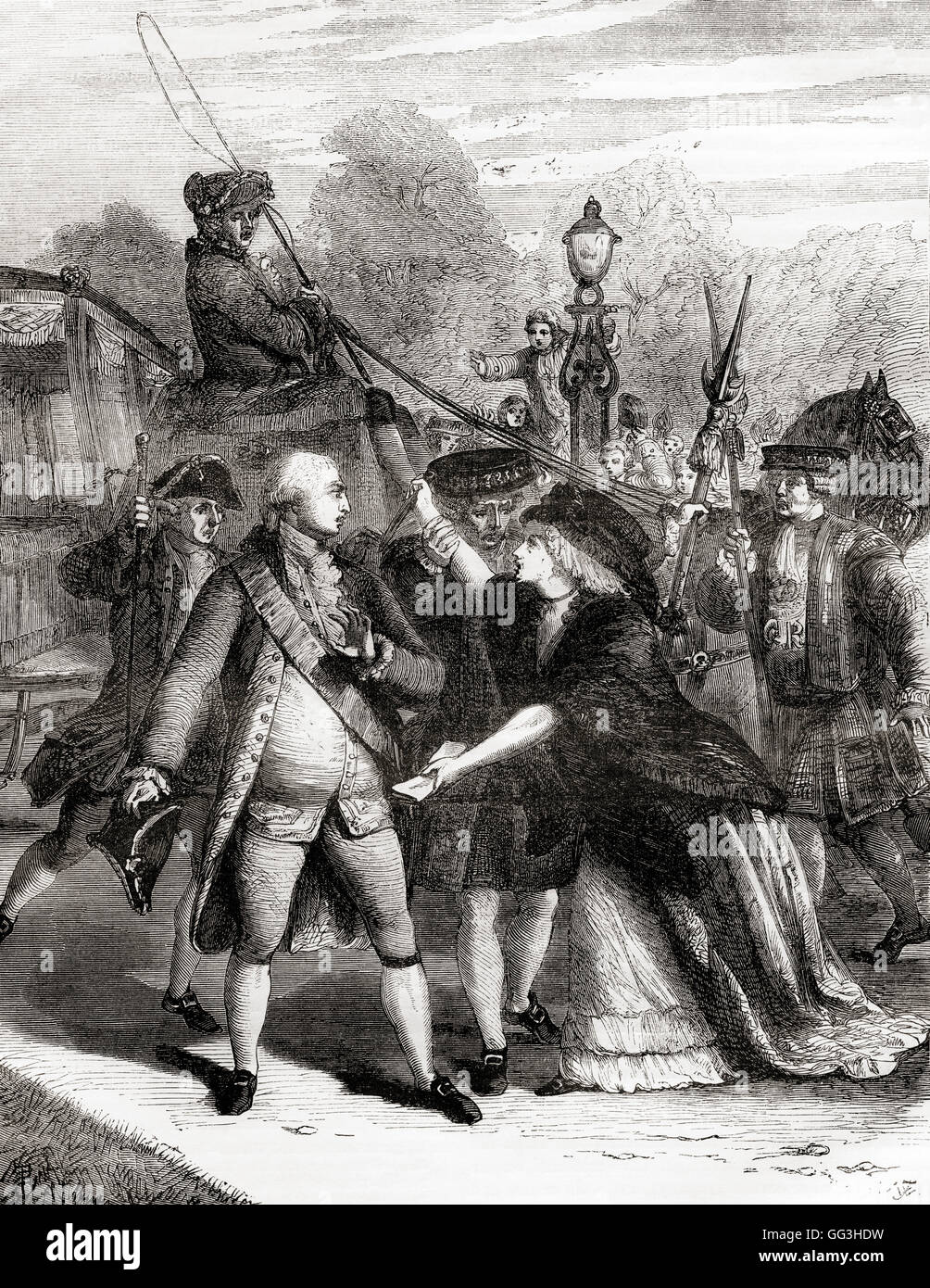 The attempted assassination of king George III in 1786 by Margaret Nicholson, (c. 1750 – 1828). Stock Photo