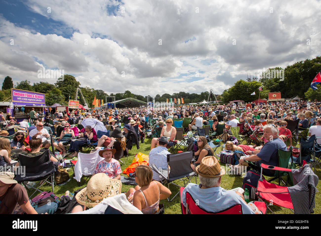 The crowd at Cambridge Folk Festival  2016 - Stock Image