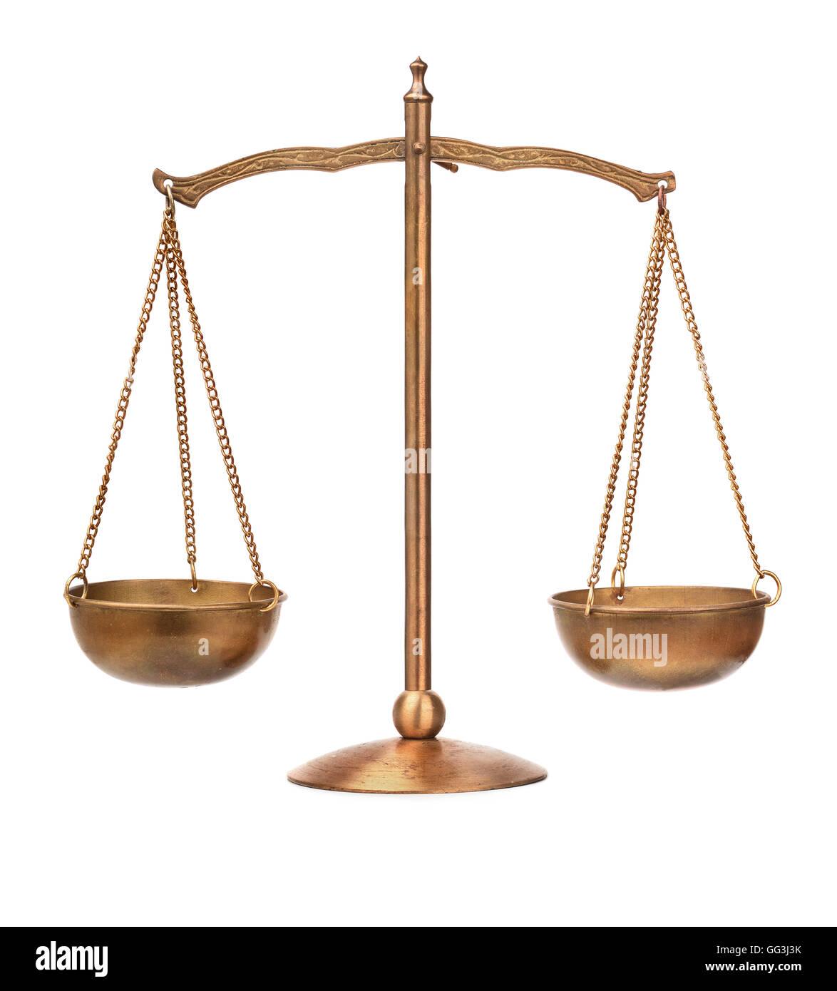 Old bronze balance scale isolated on white - Stock Image