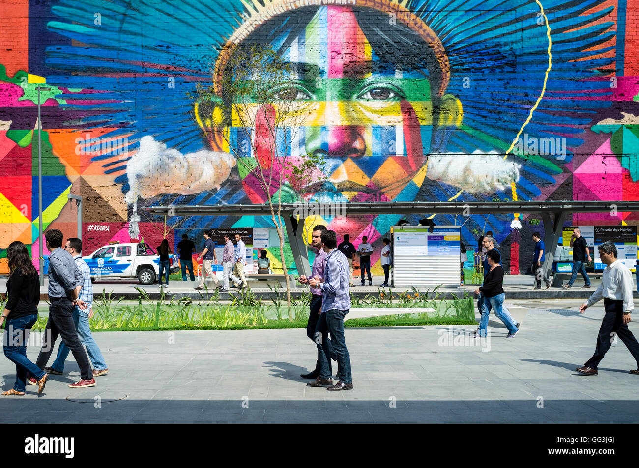 Eduardo Kobra s Mural named Native people from the 5 continents ( Povos nativos dos 5 continentes ) at Boulevard - Stock Image